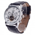 CJIABA DF303 Double-Side Automatic Mechanical Men's Wrist Watch w/ Calendar - Black + Silver + White
