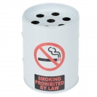 Oil Drum Shaped No Smoking Sign Pattern Stainless Steel Ashtray / Pen Holder - White + Red + Black