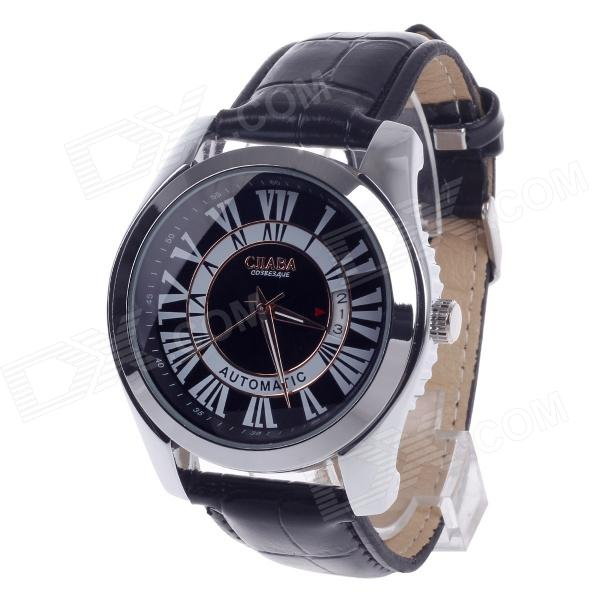 CJIABA GA9016 Roman Numeral Business Automatic Mechanical Analog Men's Wrist Watch - Black + White