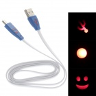Smile Face Flat USB 2.0 Male to Micro USB Male Data Sync / Charging Cable - Blue + White (100cm)