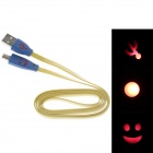 Smile Face Flat USB 2.0 Male to Micro USB Male Data Sync / Charging Cable - Blue + Yellow (100cm)