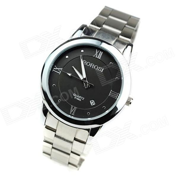 Stylish Steel Alloy Quartz Analog Men's Wrist Watch w/ Calendar - Silver + Black (1 x SR626SW)