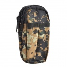 800D Water Resistant Dual-Compartment Mobile Phone Carrying Bag - Camouflage Brown