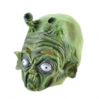 Halloween Green Alien Mask with Two Horns - Green + White