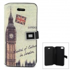 Fashion Big Ben Pattern PU Leather Case for Iphone 5C w/ Card Slot - Multicolored