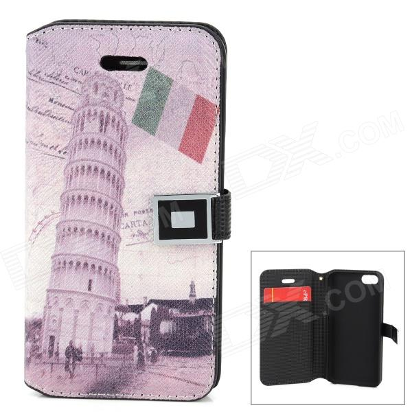 Torre di Pisa Pattern Protective PU Leather Case for Iphone 5C - Multicolored stylish protective pu leather case for iphone 5c white transparent black
