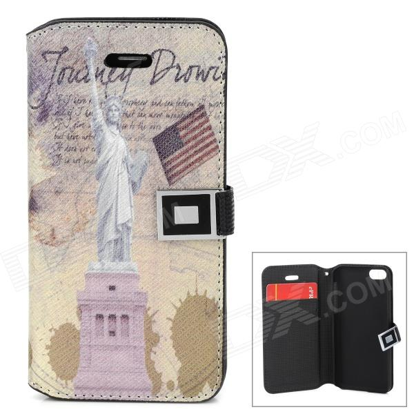 Statue of Liberty Pattern Protective PU Leather Case for Iphone 5C - Multicolored statue of liberty pattern protective plastic case for iphone 4 4s blue white