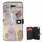 Statue of Liberty Pattern Protective PU Leather Case for Iphone 5C - Multicolored