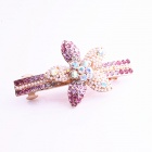 Madou Princess F025-2 Liebenswert Strass Blume Haarnadel - Pink + Golden + Purple