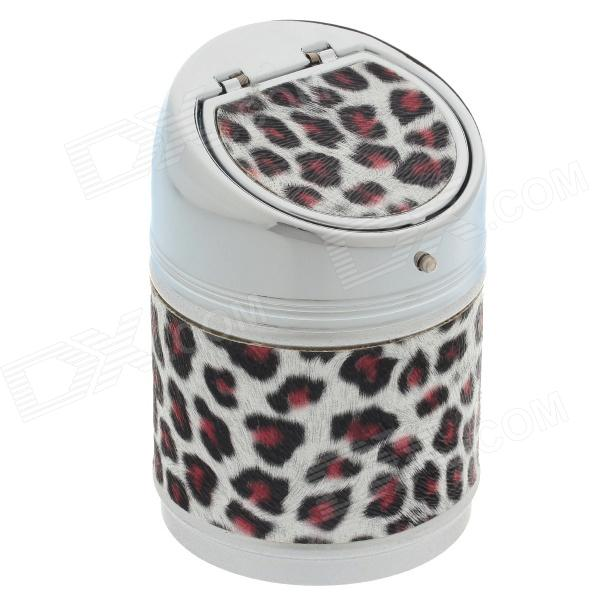 635BF Leopard Print Stainless Steel Automatic Spring Lid Ashtray - Silver + Brown + Black new safurance 200w 12v loud speaker car horn siren warning alarm stainless steel home security safety