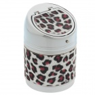 635BF Leopard Print Stainless Steel Automatic Spring Lid Ashtray - Silver + Brown + Black
