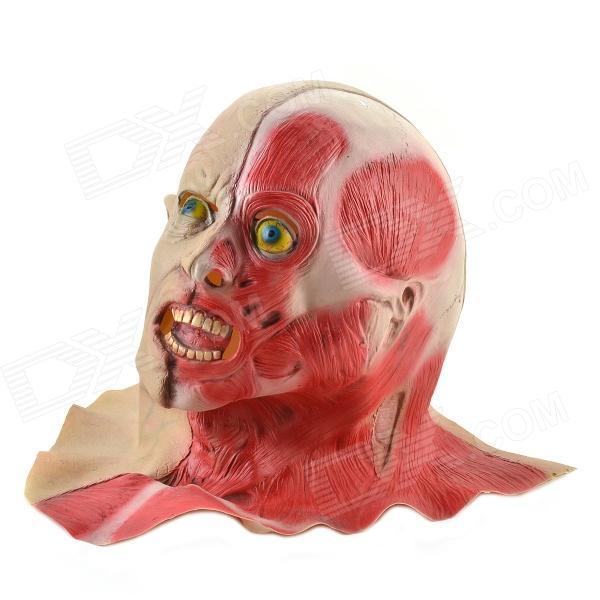 Halloween Half Anatomy Figure Mask-White + Red + Blue halloween natural rubber bald ghost mask red white