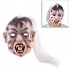Halloween Vampire Mask with Hair - Red + White