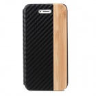 Protective PU Leather Case w/ Bamboo Mat Grain Spells for Iphone 5 - Black + Brown