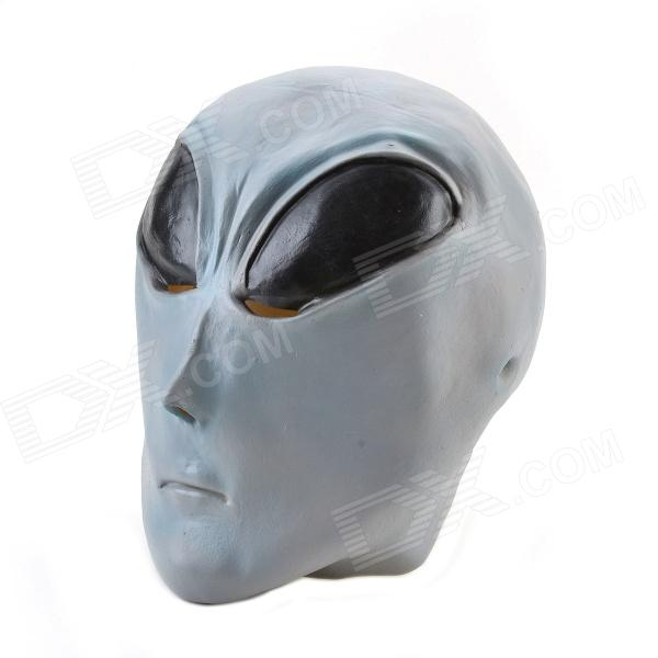 Halloween Gray Alien Mask - Black + Grey цена