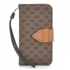 8 Pattern Protective PU Leather Case for Iphone 4 / 4S - Brown + Black
