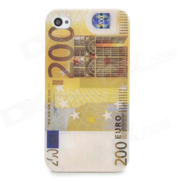 Creative 200 Euro Banknote Style Protective ABS Plastic Back Case for Iphone 4S - Yellow + White nillkin protective matte plastic back case w screen protector for iphone 6 4 7 golden