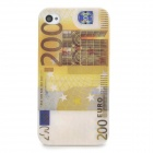 Creative 200 Euro Banknote Style Protective ABS Plastic Back Case for Iphone 4S - Yellow + White