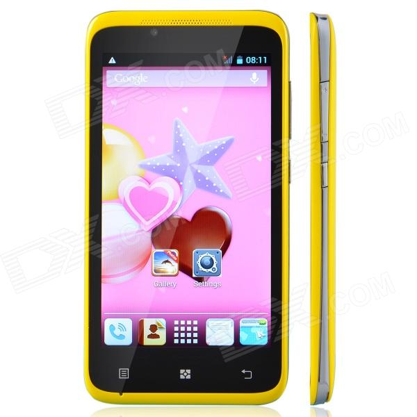 TIMMY E128 MTK6572 Dual-Core Android 4.2 GSM Bar Phone w/ 4.5, Wi-Fi, FM, Dual-SIM - Yellow