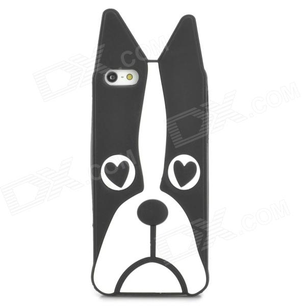Cute Dog Style Protective Silicone Back Case for Iphone 5 - Black + White ppyple aci5 protective pc case w ic card slot for iphone 5 5s cyan white