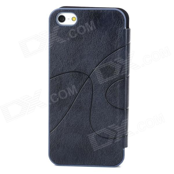 Protective Display Window PU Leather Case for Iphone 5 - Navy Blue