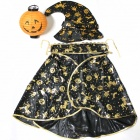 Halloween Pumpkin Wizard Cloak w/ Lantern - Golden + Black + Orange