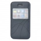 Protective PU Leather Case w/ Display Widnow for Iphone 4 / 4S - Black