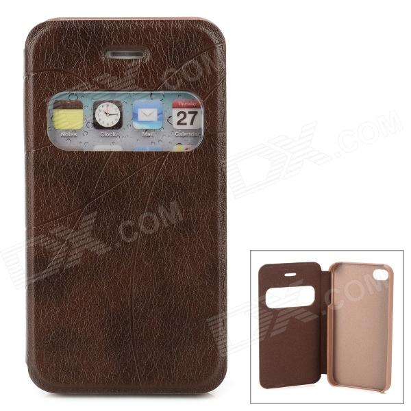 Protective Case w/ Display Window for Iphone 4 / 4S - Brown protective pu leather plastic case w display window for iphone 4 4s maroon