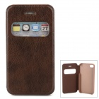 Protective Case w/ Display Window for Iphone 4 / 4S - Brown