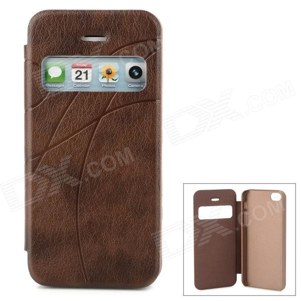 Protective PU Leather Case w/ Display Window for Iphone 5 - Brown protective plastic case w display window for iphone 5c deep pink