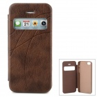 Protective PU Leather Case w/ Display Window for Iphone 5 - Brown