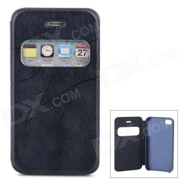 Protective PU Leather Case w/ Display Window for Iphone 4 / 4S - Navy protective pu leather plastic case w display window for iphone 4 4s maroon