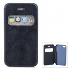 Protective PU Leather Case w/ Display Window for Iphone 4 / 4S - Navy