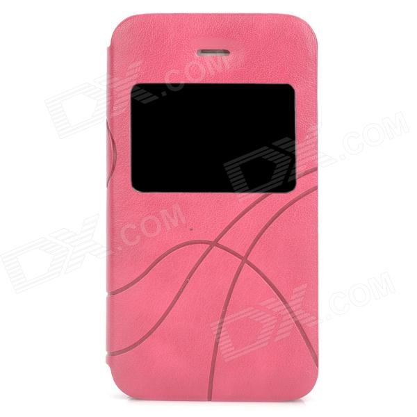 Stylish Protective PU Leather Case w/ Display Window for Iphone 4 / 4S - Deep Pink usams ip4sxk04 protective flip open case w display window for iphone 4 4s deep pink