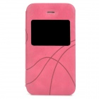 Stylish Protective PU Leather Case w/ Display Window for Iphone 4 / 4S - Deep Pink