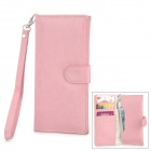 Protective PU Leather Case w/ Card Holder Slots / Hand Strap for Iphone 5 - Pink