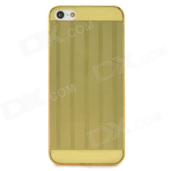 Ultrathin Stripe Style Protective ABS Back Case for Iphone 5 - Yellow