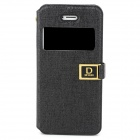 Protective Display Window PU Leather Case for Iphone 5 - Black