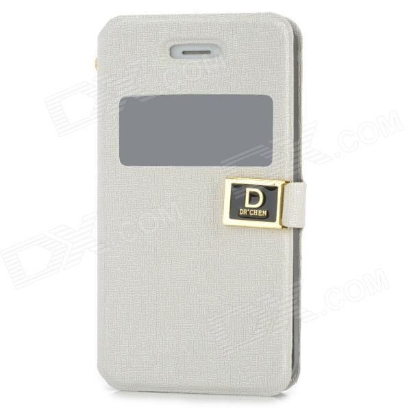 Stylish Protective PU Leather Case w/ Display Window for Iphone 4 / 4S - White remax protective flip open pu leather case w visual window for iphone 4 4s white