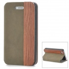 Protective PU + Wood Case for Iphone 4 / 4S - Brown