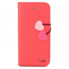 Hellodeere Protective Cute Style PU Leather Case for Iphone 5 w/ Strap - Deep Pink