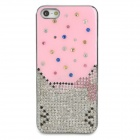 Stylish Protective Rhinestone + Plastic Back Case for Iphone 5 - Pink + Silver