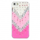 Stylish Protective Rhinestone + Plastic Back Case for Iphone 5 - Deep Pink + Pink + White