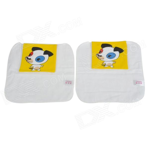 Pure Cotton Baby's Water-absorption Back Pad Towel - Yellow + White )2 PCS)