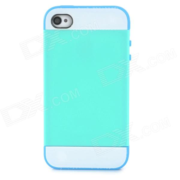 NX CASE Protective TPU + Plastic Back Case for Iphone 4 / 4S - Green + Blue one piece 1x brand new high quality silicon protective skin case cover for xbox 360 remote controller blue green mix color