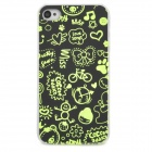 Glow-in-the-Dark Ultrathin Protective PVC Back Case for Iphone 4 / 4S - Black + Green