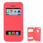 Protective PU Leather Case w/ Dual Windows for Iphone 5C - Red