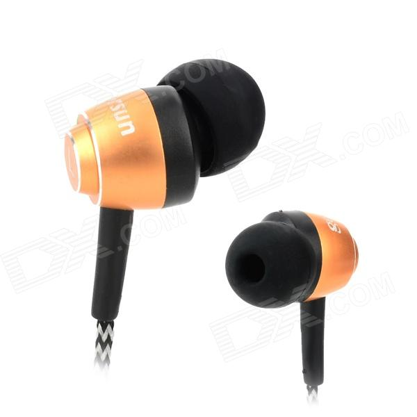 Gorsun GS-A230 Universal 3.5mm In-ear Earphone for Cellphone / Computer - Golden + Black + Grey ovleng ov l23mv stylish computer earbuds w in ear caps microphone black 3 5mm plug 2m