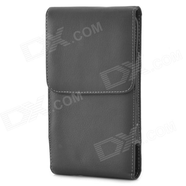 Stylish Protective PU Leather Case Bag w/ Belt Clip for Samsung Galaxy Mega 6.3 i9200 - Black lychee pattern protective pu leather case w belt clip for samsung galaxy ace duos s6802 black