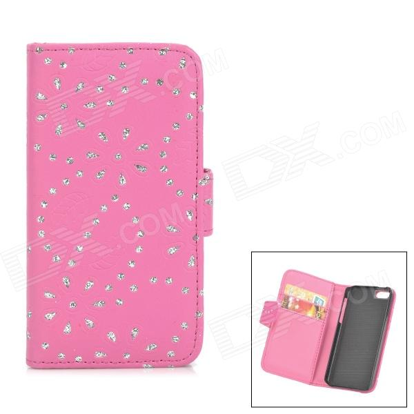 Flower & Leaf Style Protective PU Leather Case for Iphone 5C - Deep Pink + Silver смартфон huawei y6 pro золотой